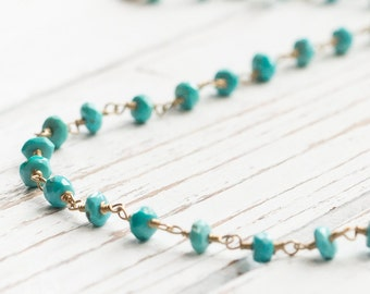 Sleeping Beauty Turquoise Faceted Rondelle Necklace