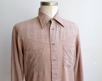 Vintage Chambray and Plaid Western Shirt/ 70s Thin Button Up Shirt