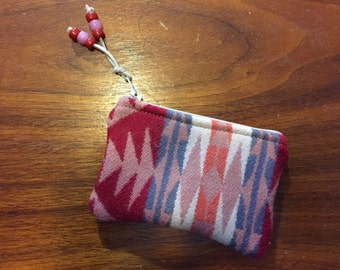 Wool Coin Purse / Phone Cord / Gift Card Holder / Zippered Pouch XL Southwestern Tribal Handcrafted using Fabric from Pendleton Woolen Mill