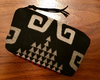 Wool Clutch Unlined / Travel Bag / Cosmetic Bag Large Black, White & Gray Southwest Tribal Handcrafted From Pendleton Woolen Mill Fabric