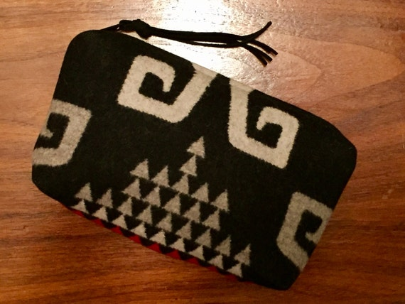 Wool Clutch Unlined / Travel Bag / Cosmetic Bag Large Black, White & Gray