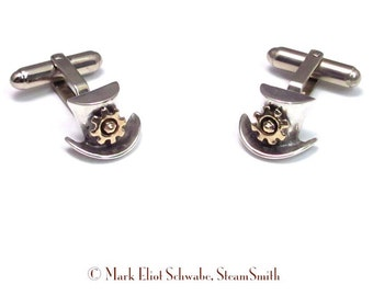 Top Hat & Gear SteamPunk cuff links - Sterling Silver Top Hat 14k gold Gear and Hex Nut,  distinguished