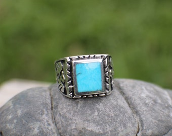 Sterling Silver Thunderbird Turquoise Ring Size 10