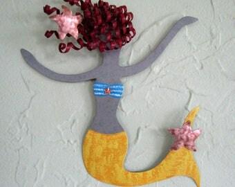 "Mermaid art metal wall art sculpture - Rosie - beach house coastal ocean wall decor yellow red head  bathroom kids  8"" x 7"""
