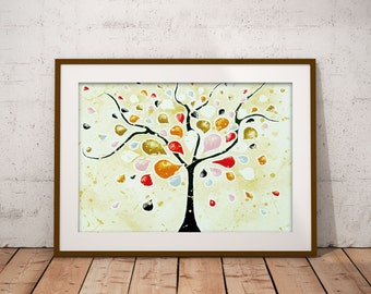 Abstract Tree Art Print Modern Living Room Decor, Tree of Life Wall Art Housewarming Gift