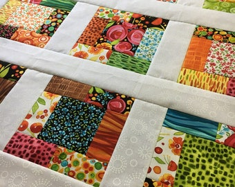 Wild by Nature Unfinished baby sized quilt top - Maywood Studio - Ready to Quilt / gift for her / Kathy Deggendorfer / floral / homemade DIY