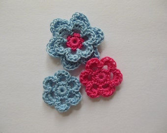 Crocheted Flower Combo - Blue and Hot Pink - Cotton Flowers - Crocheted Flower Appliques - Crocheted Flower Embellishments