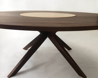 "Contemporary Modern Solid Walnut Round Dining Table with Maple Lazy Susan Modern &  Sculptural Solid Walnut Legs - 72"" - Seats 6-8"