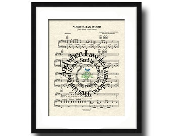 Norwegian Wood Song Lyric Sheet Music Art Print, Spiral Word Art