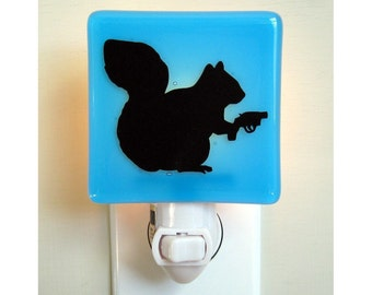 Squirrel Nightlight - Funny Gift - Hand Painted Glass
