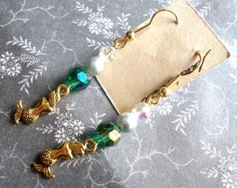 Mermaid Earrings - Gold Mermaid Earrings - Ocean Sea Witch Earrings - AB Teal Crystal Pearl Earrings Undine Selkie - Wicca Pagan Sea Witch