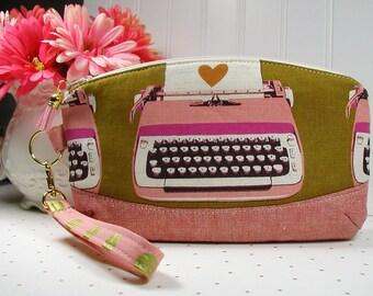 Clematis Clutch, Zipper Wristlet, Zipper Clutch ..Retro Typewriter, Ruby Star Rising, Melody Miller