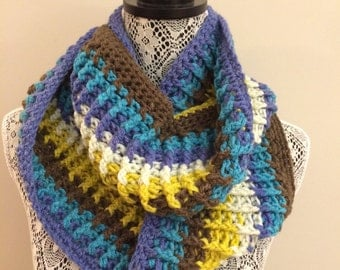 Blue Brown and White Infinity Scarf INF/6/16