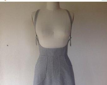 SALE Railroad striped denim suspender skirt Sz 10