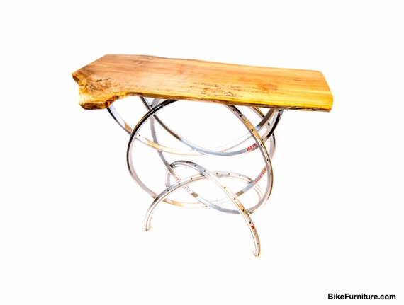 Bicycle wheel live edge wood sofa or entry table aluminum on for Bicycle wheel table