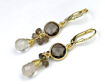 Beige Drop Earring Gold Vermeil Smokey Quartz Wire Wrap Petite Earrings Smokey Quartz Gold Bezel Set Andalusite Cluster Earring