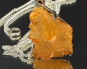 55% OFF Druzy Crystal Necklace Golden Citrine Quartz Cluster Necklace  Golden Mystic Aura Titanium Crystal Necklace Mineral Jewelry Raw Ston