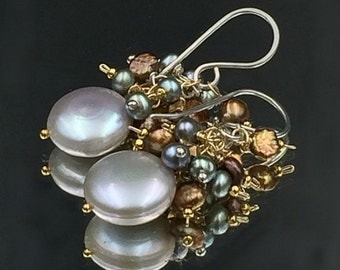 35% OFF Silver Grey Coin Pearl Earrings Wire Wrap Bronze Grey Pearl Cluster Silver Gold Wedding Jewelry Bridesmaid Earring Beach Wedding Mix