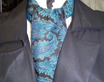 "Ascot or Carvat Black, Teal, Metalic Gold Floral Paisley Brocade print fabric 4"" x 56"" Mens Historial Wedding, cravat tie"