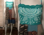 Reserved for Erin***DeviDesigns Tribal Upcycled T-shirt Sundress w Indian Inspired Batik S M as a skirt or boho chic dress junk gypsy