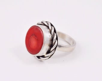 Coral Ring. Genuine Red Coral and Sterling Silver Ring Size 5.5 US