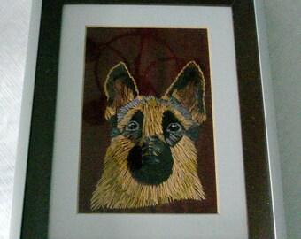 German Shepherd Portrait Embroidered