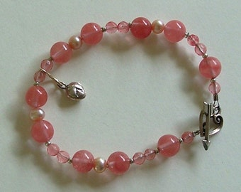 Cherry Quartz and Freshwater Pearl Bracelet with a Silver Heart Charm and Silver Heart with an Arrow Clasp by Carol Wilson of Je t'adorn