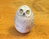Hand Painted Wooden Owl  Easter Egg Owl