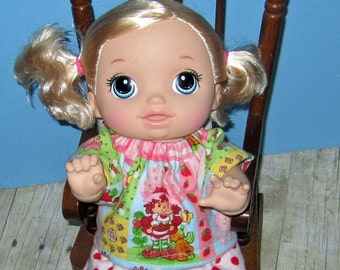 Baby Alive Go Bye Bye Doll Clothes Strawberry Shortcake Pajamas   Set  Fits 15Inch Doll   Doll Clothes Handmade Made in USA