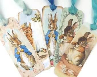 Bookmarks, Peter Rabbit, Vintage Retro Tag, Paper Bookmark, Tea Party Favor, Bunny Rabbit Favour , Fairytale Children Party, Australia