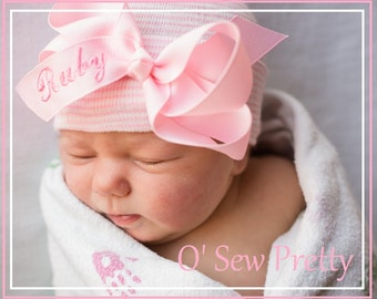 ANY INITIAL or First name embroidered on a baby Hospital hat, baby girl hat, newborn girl, newborn outfit, newborn hospital hat, newborn hat