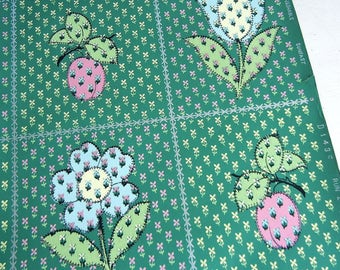 Vintage Wallpaper Roll   Calico Patchwork Flowers & Fruit Motif   Tulip Daisy