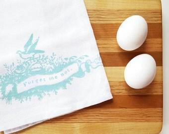 Turquoise Bird Tea Towel Cotton Flour Sack Towel Kitchen Cottage Decor Rustic Housewarming Teacher Gift under 10 Dollars Nashville Tennessee