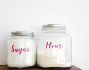 Flour & Sugar And Other Baking Decals In Pink or Black