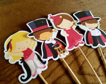 Magic Show Party - Set of 12 Double Sided Assorted Magician Cupcake Toppers by The Birthday House