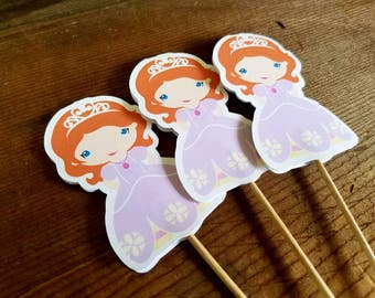 Princess Sofia Party - Set of 12 Sofia Cupcake Toppers by The Birthday House