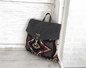 Diaper Bag Backpack, Travel Backpack, Waxed Canvas, Navajo Wool Backpack,