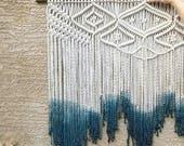 Large macramé wall hanging with dipdye/weaving/bohemian wedding backdrop/boho decor/tapestry/wall art/decor.
