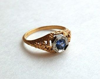 Art Deco Sapphire Ring 14K Gold Blue Sapphire Size 6