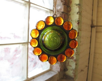Wine Bottle Bottom Suncatcher Flower