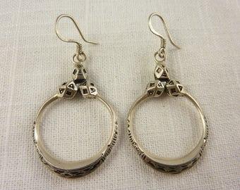 Vintage Sterling Tribal Style Drop Earrings