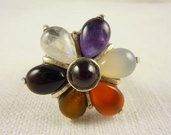 Size 9.5 Vintage Sterling Multi Gemstone Flower Ring