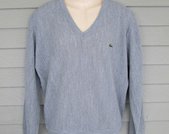 IZOD LACOSTE  Mens Gray V-Neck Sweater M
