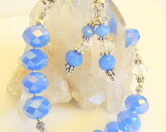 Blue AB Crystal Bracelet, Crystal Dangle Earrings, Jewelry Gift Set or Separately, Handcrafted Jewelry, Holiday Jewelry