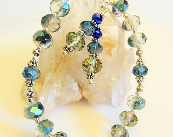 Peacock Polished Crystal Bracelet, Jewelry Gift Set, Handcrafted Jewelry, Blue and Silver, Holiday Jewelry