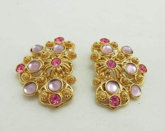 SALE Avon Barrera Earrings Rhinestones Gold Metal Designer Signed Clip On Pink 974