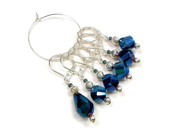 Locking Stitch Markers Crochet Row Markers Removable Markers Knitting Supplies Midnight Blue DIY Crafts