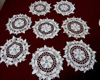 Antique Italian Lace Coaster Set (8) Linen & Lace Coasters Venice Lace