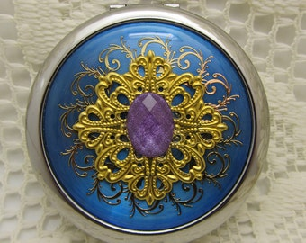 compact mirror with protective pouch - Purple Shimmer - unique gifts for bridesmaids, maid of honor, mother of bride - gift under 20