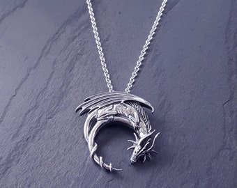 Sterling Silver Dragon Crouching on the Moon Necklace // Dragon Necklace // Dungeons and Dragons // Gift for Him // Medieval // Goth